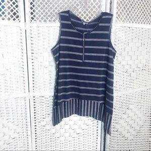 Ava James navy blue pinstripe blouse sleeveless M